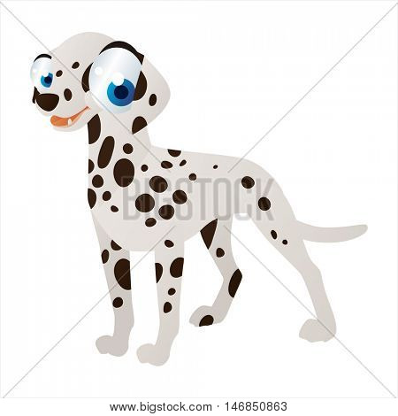 vector cute cool colorful cartoon animal drawing. pedigree illustration collection. Dog Breeds. Dalmatian