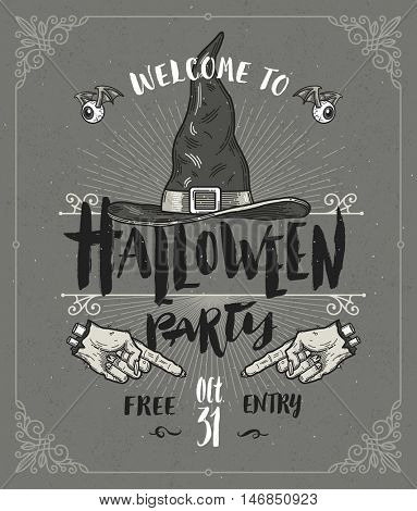 Halloween poster or greeting card - vector design with hand drawn type design