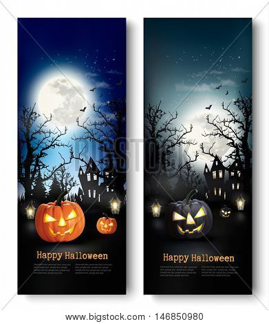 Two Holiday Halloween Banners with Pumpkins. Vector