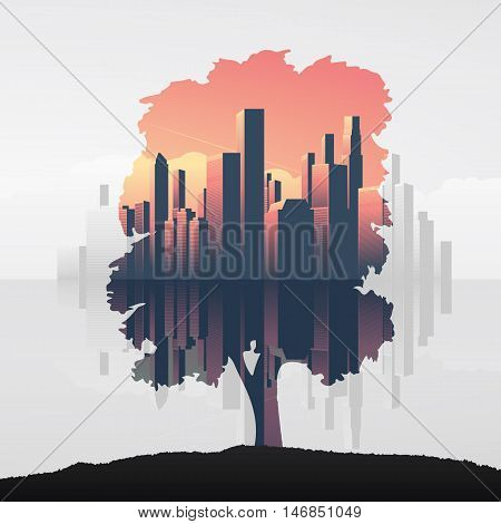 Tree and urban business skyline double exposure vector illustration background. Symbol of environment, nature and ecology. Eps10 vector illustration.