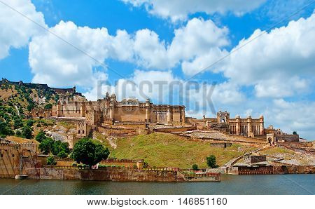 Amber Fort with blue sky in Jaipur, Rajasthan, India.