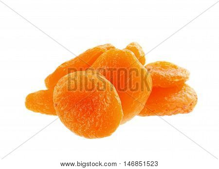 Dried apricots fruits isolated on white background.