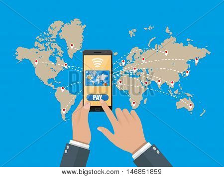 smart phone with credit card on global map background. mobile payments concept. vector illustration in flat style
