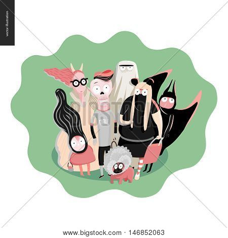 Treak or treat group of children, greeting card. Vector cartoon illustrated group of kids wearing Halloween costumes and a french bulldog, scared by something. Composition placed on a waved shape