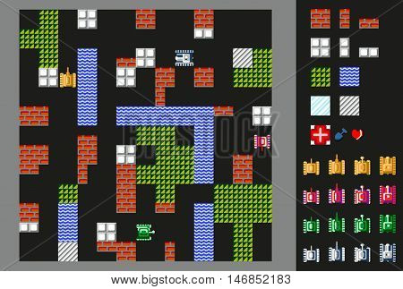 Retro video game.  User interface with tanks, terrain and obstacles . Vector illustration