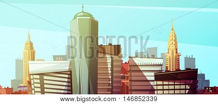 Manhattan cityscape with world trade center chrysler and empire state buildings at marine background flat vector illustration