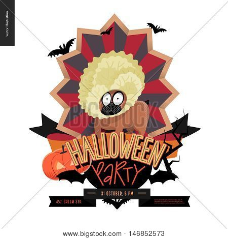 Halloween Party composed sign emblem invitation. Flat vectror cartoon illustrated design of a french bulldog in center of striped shield, bats, pumpkin jack-o-lantern, ribbon, lettering
