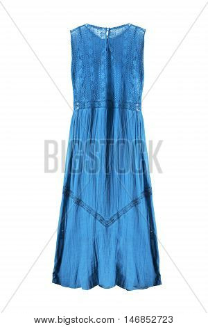 Blue lacy long dress on white background
