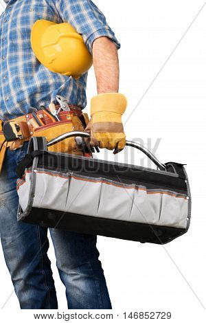 Construction Worker / Carpenter with Tool Belt and Toolbox