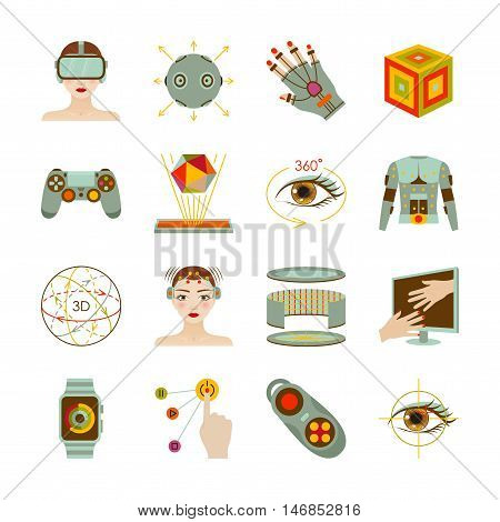 Virtual reality and gadgets icons set. Vector illustration.