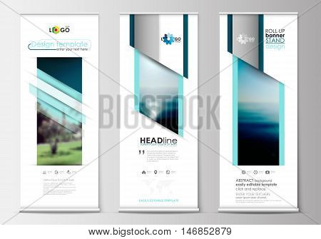Set of roll up banner stands, flat design templates, abstract geometric style, modern business concept, corporate vertical vector flyers, flag banner layouts. Blue color travel decoration layout, easy editable template, colorful blurred natural landscape.