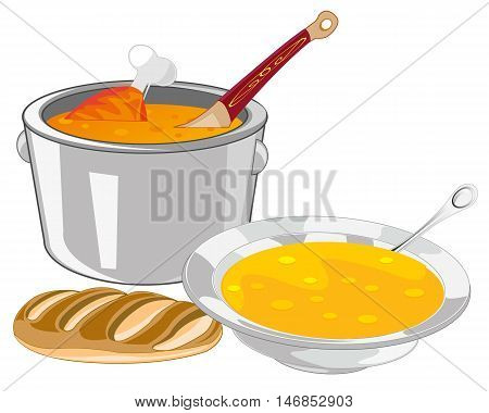 The Saucepan and plate of soup on table.Vector illustration