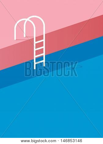 Swimming pool with ladder or steps in vintage retro poster style flat design. Eps10 vector illustration.