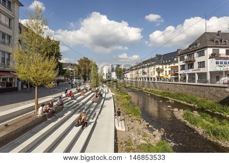 SIEGEN GERMANY - SEP 1 2016: New waterfront promenade at the Sieg river in the city of Siegen. North Rhine Westphalia Germany
