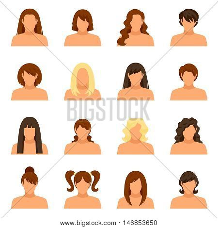 Woman hairstyle icons set with face and shoulders flat isolated vector illustration