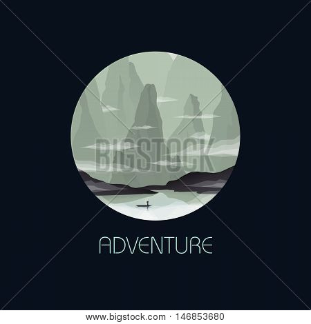 Nature concept with Eastern Asia, China, Vietnam landscape scene vector. Boat on a river in gorge between cliffs and rocks. Eps10 vector illustration.