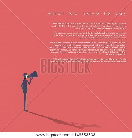 Business man with a megaphone as symbol for announcement, public speaking, presentation. Eps10 vector illustration.