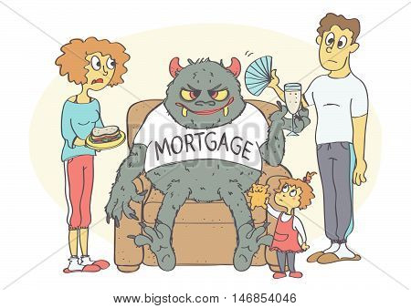 Cartoon of young family with mortgage in their home. Vector illustration of mortgage concept.