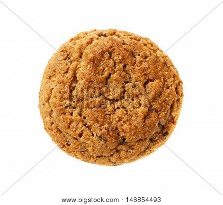 One oatmeal cookie isolated on white background.