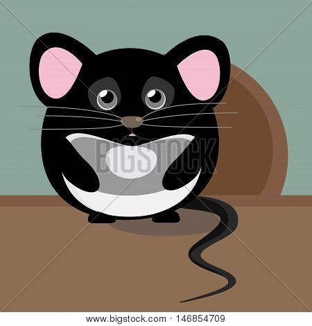 Lovely cute image with vector character. Illustration with cute gray sad little mouse. Isolated from background.