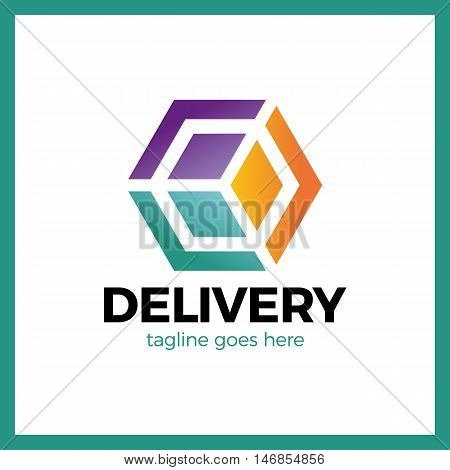 Delivery Box Three Arrow Logo. Logistic Cube. Transporting Hexagon