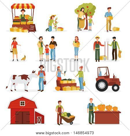 Autumn harvest time on farm flat icons collection with tractor cow and orchard abstract isolated vector illustration