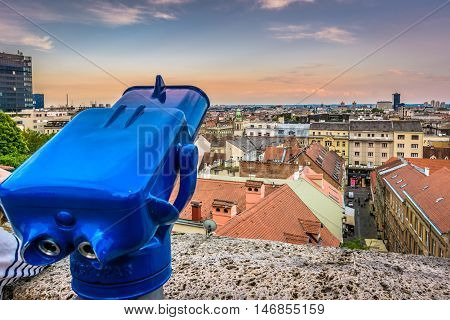 Aerial view on Zagreb cityscape from upper town famous viewpoint.