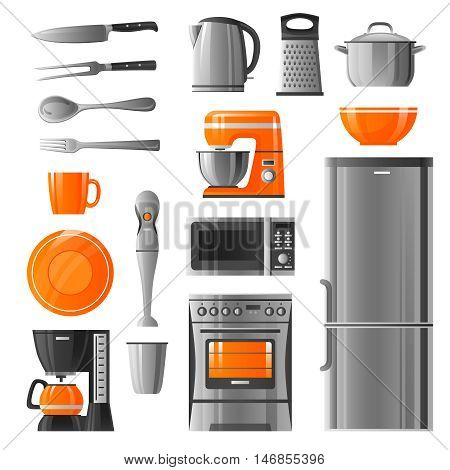 Appliances flat icons set in realistic style with microwave refrigerator stove  kettle mixer blender coffee machine  and kitchen utensil isolated vector illustration