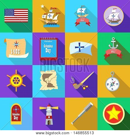 Columbus Day icons set in flat style. Sailing equipment set collection. Celebrate Columbus Day vector illustration