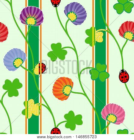 Seamless pattern with green clover shamrock ladybugs and ribbons. Vector illustration