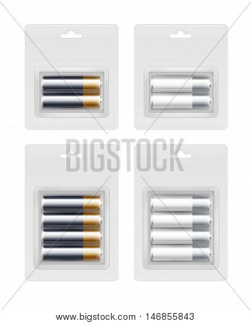 Vector Set of Two and Four Black White Gray Silver Golden Yellow Glossy Alkaline AA Batteries in Transparent Blister Packed for branding Close up Isolated on White Background.