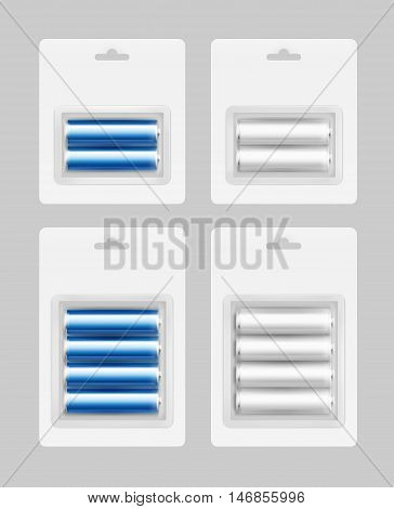 Vector Set of Two and Four White Silver Blue Cyan Glossy Alkaline AA Batteries in White Blister Packed for branding Close up Isolated on Background