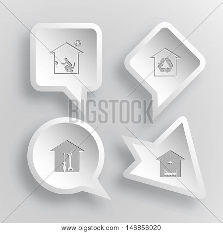 4 images: home toilet, protection of nature, workshop, hotel. Home set. Paper stickers. Vector illustration icons.