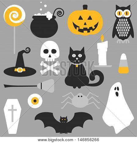 Halloween Flat Icons Design.
