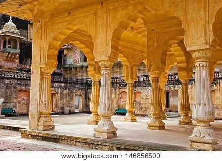 JAIPUR, RAJASTHAN/ INDIA - SEPTEMBER 26, 2013: Columned hall of Amber fort  on September 26, 2013. Jaipur, Rajasthan, India