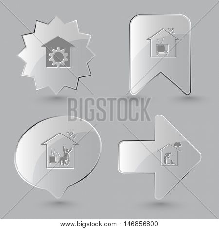 4 images: repair shop, home tv, home watching TV, home cat. Home set. Glass buttons on gray background. Vector icons.