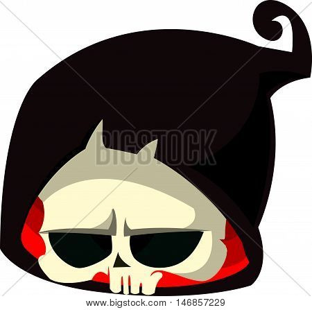 Cartoon grim reaper head icon. Halloween vector icon of death skull mascot isolated on white background.