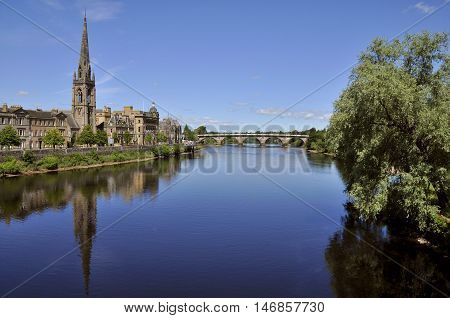 Cityscape of Perth Scotland UK with the River Tay