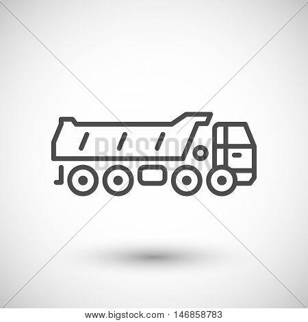 Dump truck line icon isolated on grey. Vector illustration
