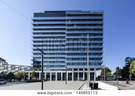 SIEGEN GERMANY - SEP 8 2016: New modern town hall building in the city of Siegen. North Rhine Westphalia Germany