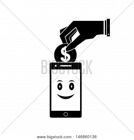 Payment by mobile phone. Vector illustration. Black on a white background.
