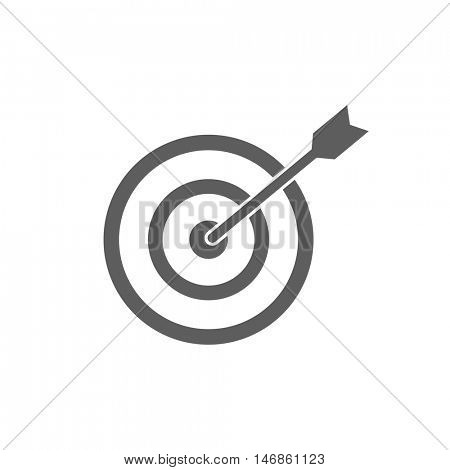 Dart in bullseye isolated on a white background