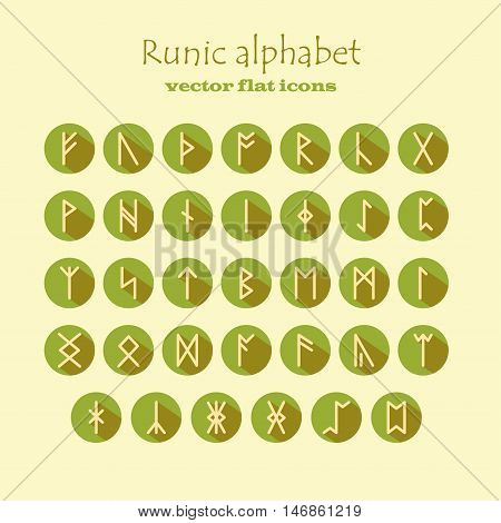 Set of Old Norse Scandinavian runes in modern flat style with long shadows. Rune alphabet. Vector