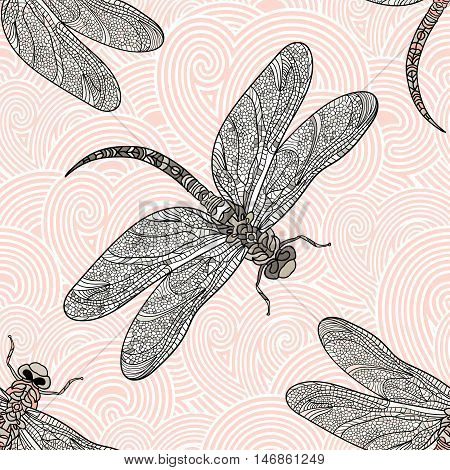 Seamless vector pattern with dragonfly on a tender background. Elegant decoration. Can be used for wallpaper, pattern fills, web page background, surface textures. Vector boho design