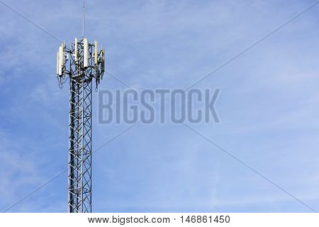 Antenna tower of communication on sky background.001