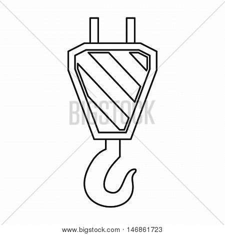 Crane hook icon in outline style on a white background vector illustration