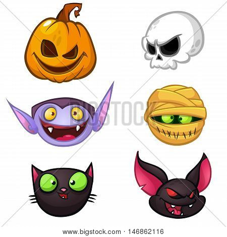 Halloween characters icon set. Cartoon heads of pumpkin death vampire mummy witch cat bat