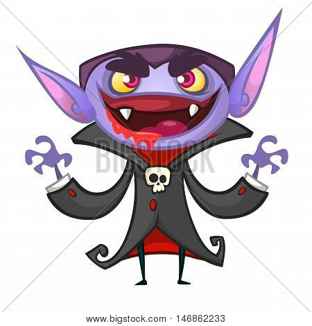 Cute cartoon vampire smiling. Vector illustration of dracula