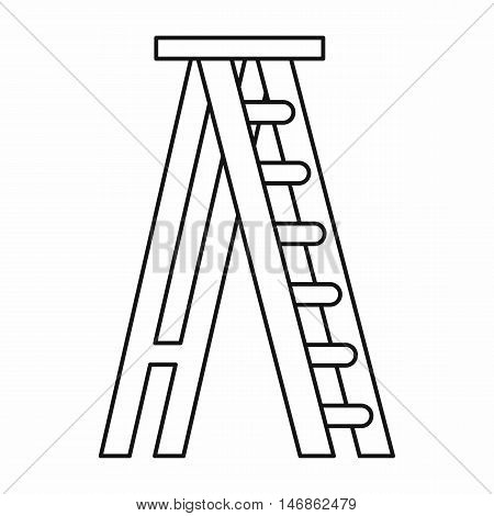 Stepladder icon in outline style on a white background vector illustration