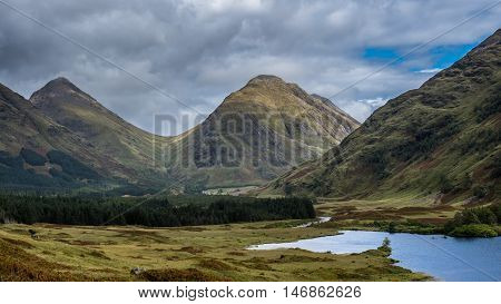 Early autumn in Glen Etive in the Scottish Highlands